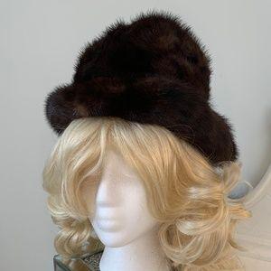 Vintage 1950's Brown Mink Fur Hat